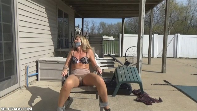 Chair tied MILF tape gagged outside selfgags