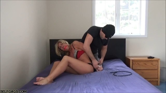 Ball gagged milf tied up in her underwear