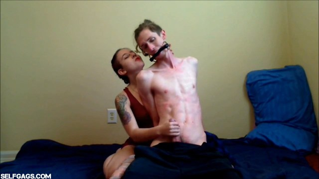 Femdom girl jerk off bound and gagged boyfriend