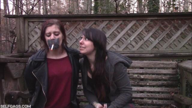 Forced smoking through tape gag