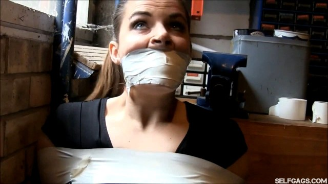 Girl tape gagged really, really tight selfgags