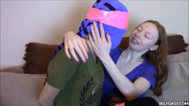 Gagged bondage girl pantyhose encasement selfgags