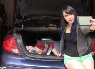 Little sister tape tied and gagged in car trunk
