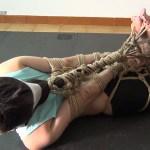 Hogtied girl in shibari bondage