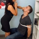 tall femdom girl handgags man in bondage