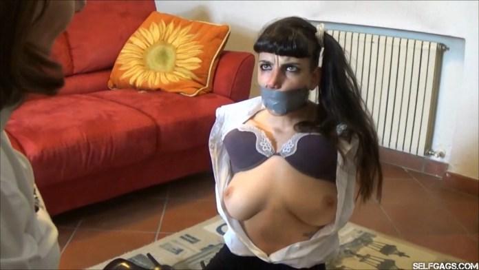 Spanish girl bound and gagged