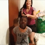 latina girl panty gagged and head encased with nylon pantyhose