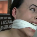 Crying fetish girl Carleyelle cleave gagged with vet wrap