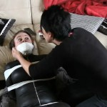 Carleyelle tape wrap gagged and bound in catsuit