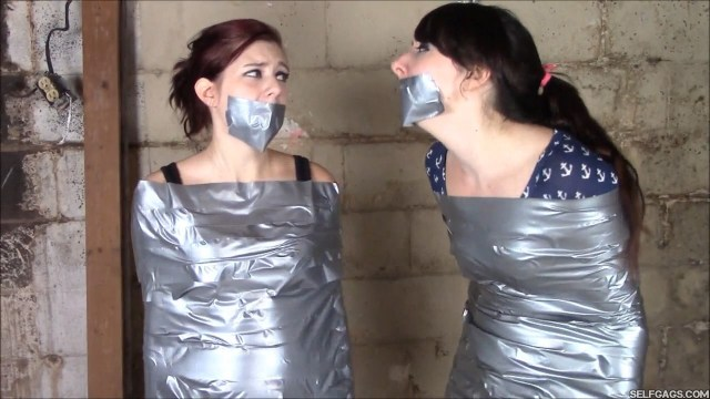 Gagged Sisters In Mummification Bondage Begs Daddy Not To Sell Them