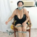 Bound and tape wrap gagged latina milf does duct tape escape challenge and breaks free