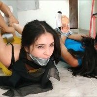 Latina Step-Sisters Bound And Gagged By Evil Cousin