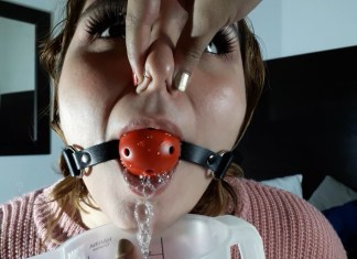 Ball gagged latina BBW nose pinched while drooling inside a measuring cup