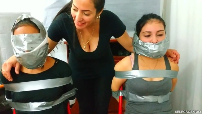 Sisters tied up and wrap gagged with duct tape