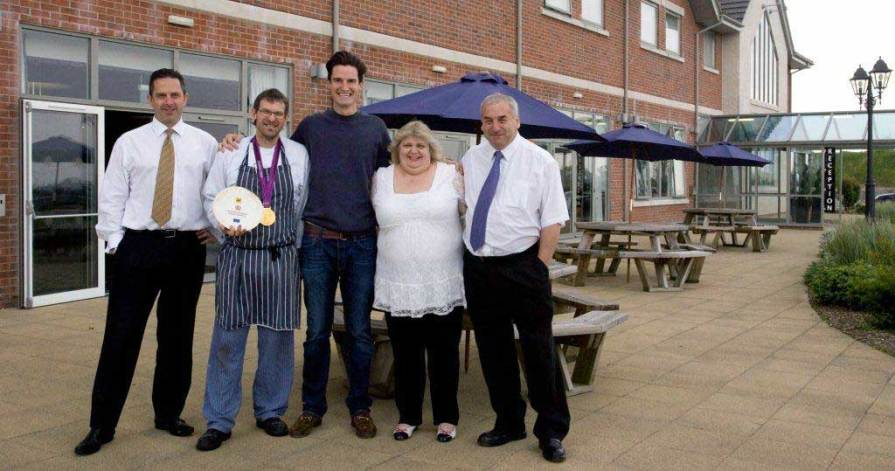 Picture Shows (L - R) GM Jason Hambleton, Head Chef Andy Pike, Gold Medalist Peter Wilson, and Owners Michele and Barry Crook.
