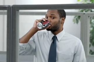 An office drinks a Coke Zero to confirm it's not his fault he's working on the March Madness brackets during work time.  From creativity-online.com.