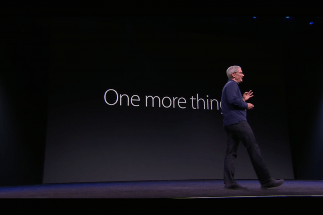 Apple CEO Tim Cook on stage at the company's annual developer conference.