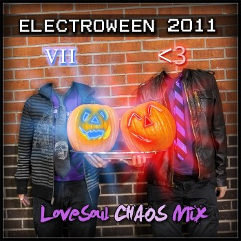 The coverart for Electroween 2011 featuring the aforementioned pumpkin heads.