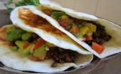 Beef Taco with Avocado, Tomato, and Radish salsa