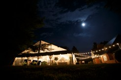 Wedding tent at night at Gaie Lea in Staunton