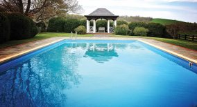 A swimming pool and gazebo