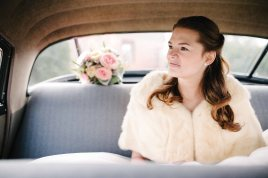 A bride in a car at Gaie Lea in Staunton, Virgina