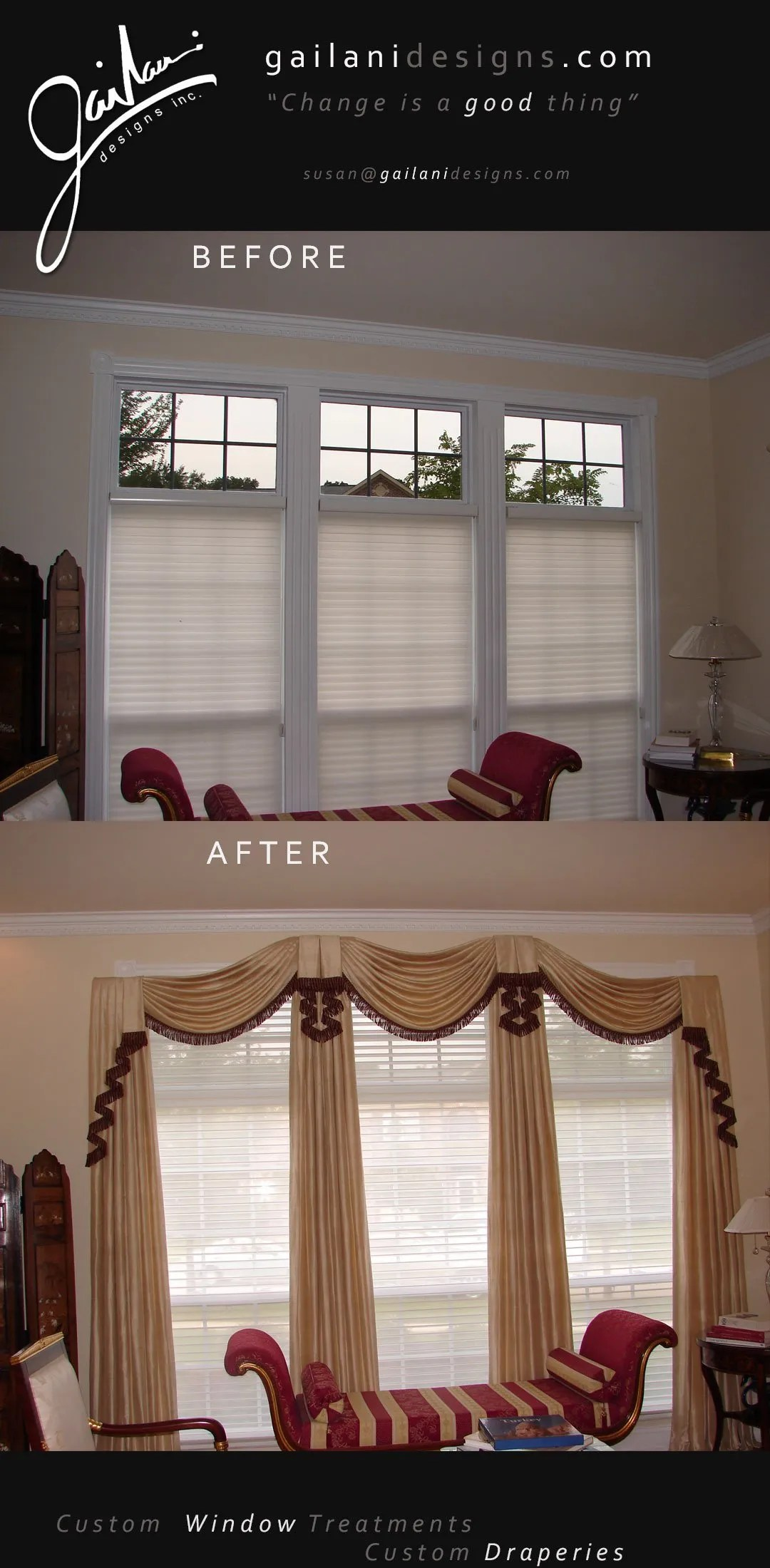 Gailani Designs - Before and After Custom Window Treatment