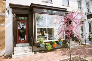 fibre space yarn shop is located in the middle of Old Town Alexandria.