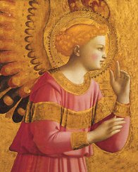 Wikipedia Commons. A detail from the Annunciatory Angel. Fra Angelico was an early Italian Renaissance painter c.1395 - 1455. In English his name means the Angelic friar. There are a multitude of famous frescos and paintings he has done.