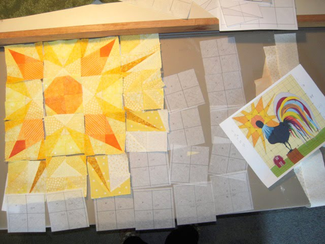 rooster quilt in progress