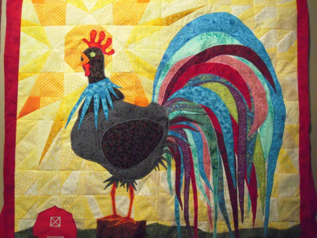 rooster quilt top