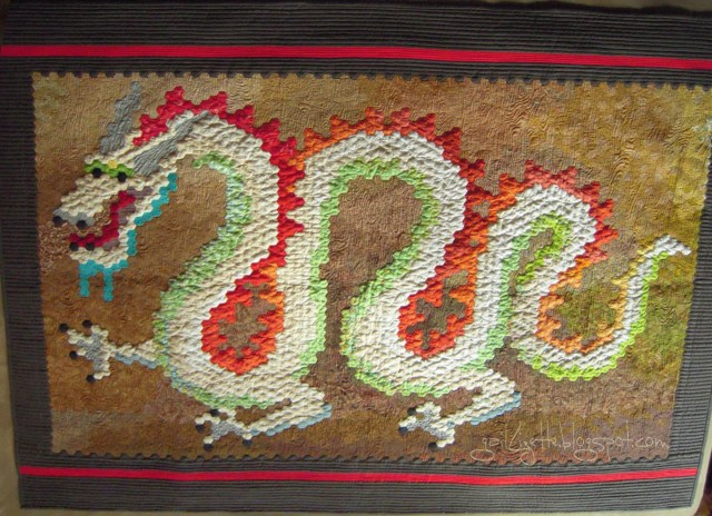finished hexie dragon quilt