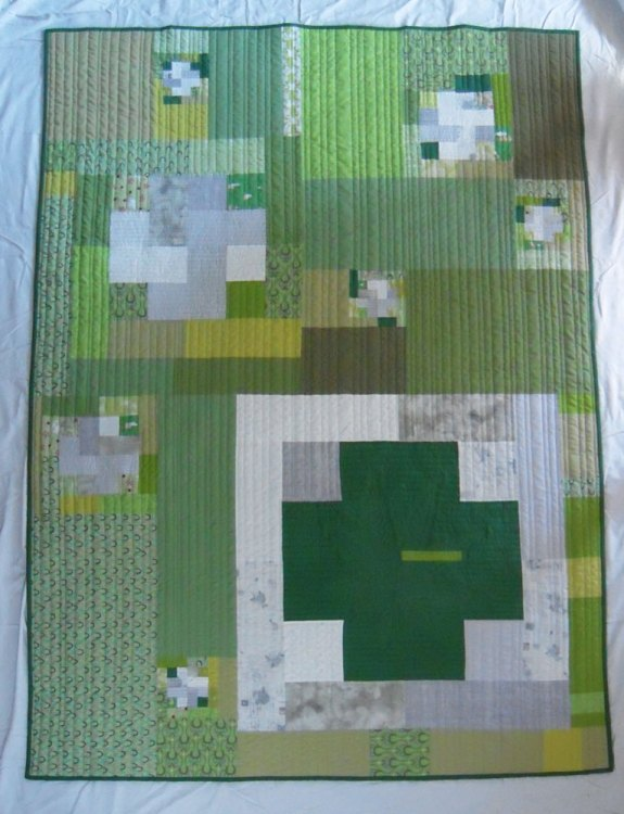 Green Cross Quilt - Finished Front