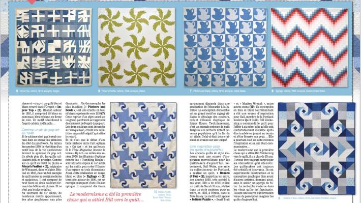 """Ocean's of Blue"" (bottom right) quilt in: Pratique du Patchwork no. 10, France"
