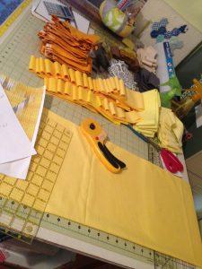 Cutting Solar Plexus Chakra Quilt
