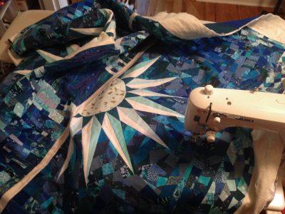 preparing to quilt on a juki