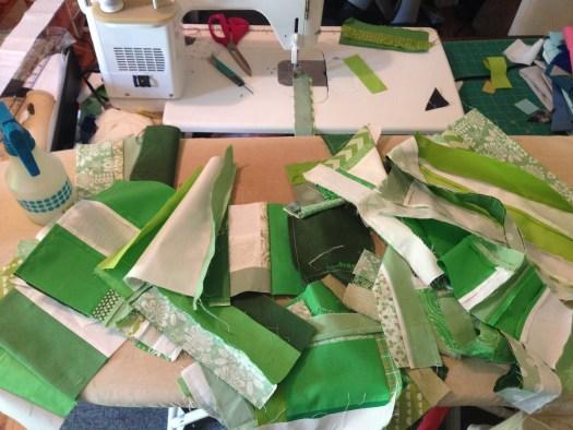 green fabrics sewing