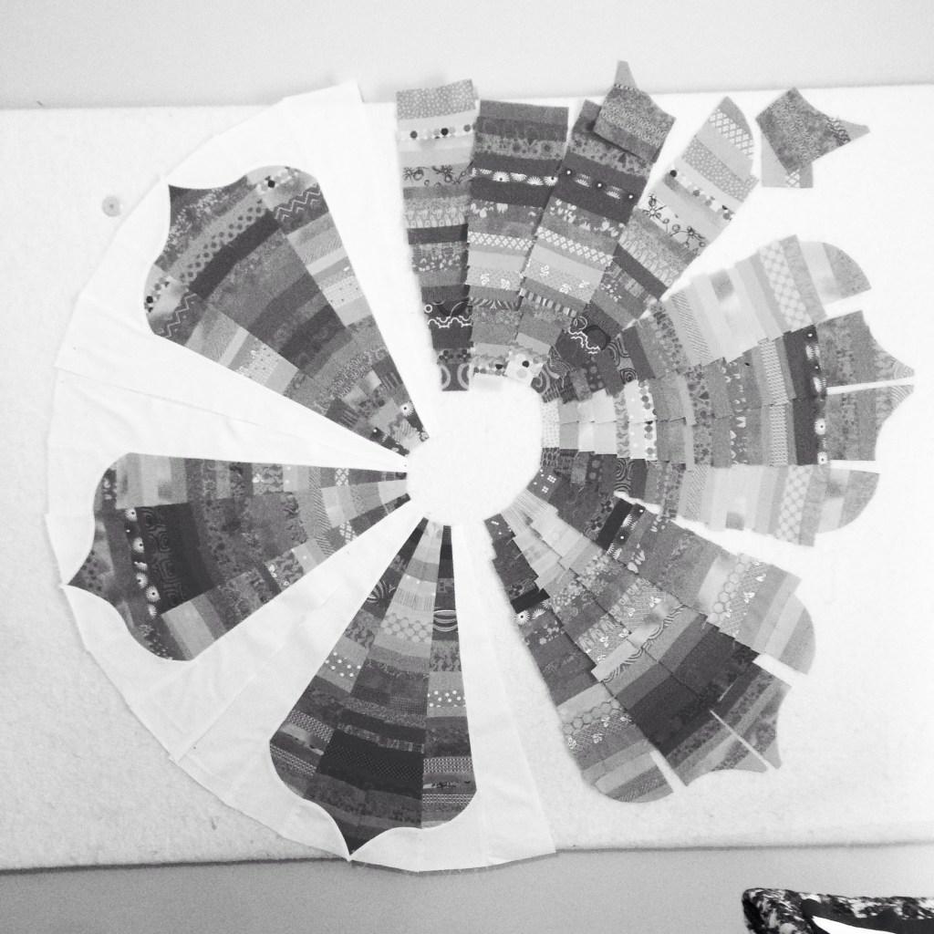 monchromatic patchwork lotus petal