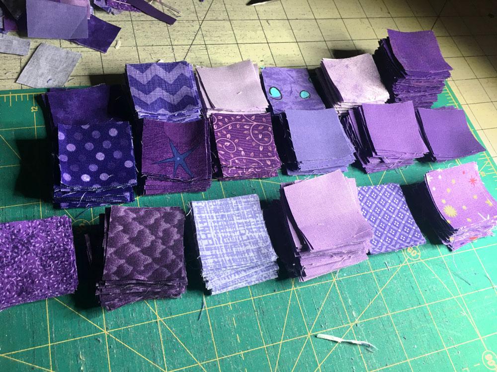 purple fabric squares