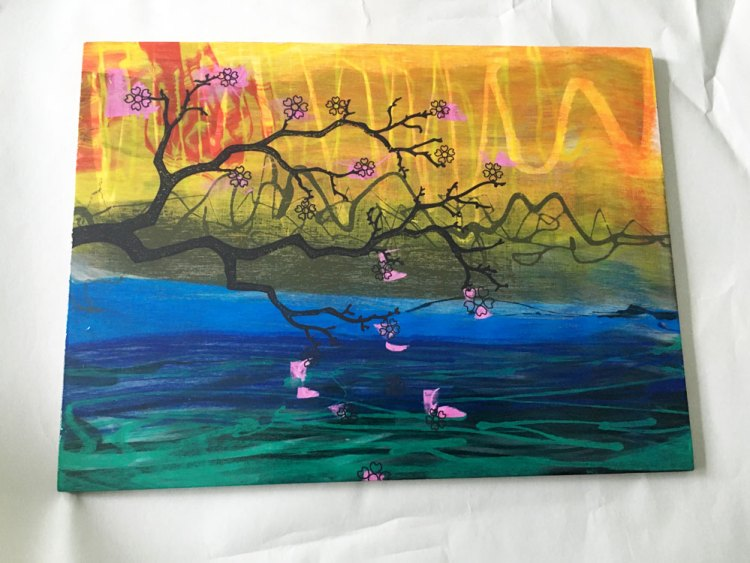 Cherry blossoms screen print art