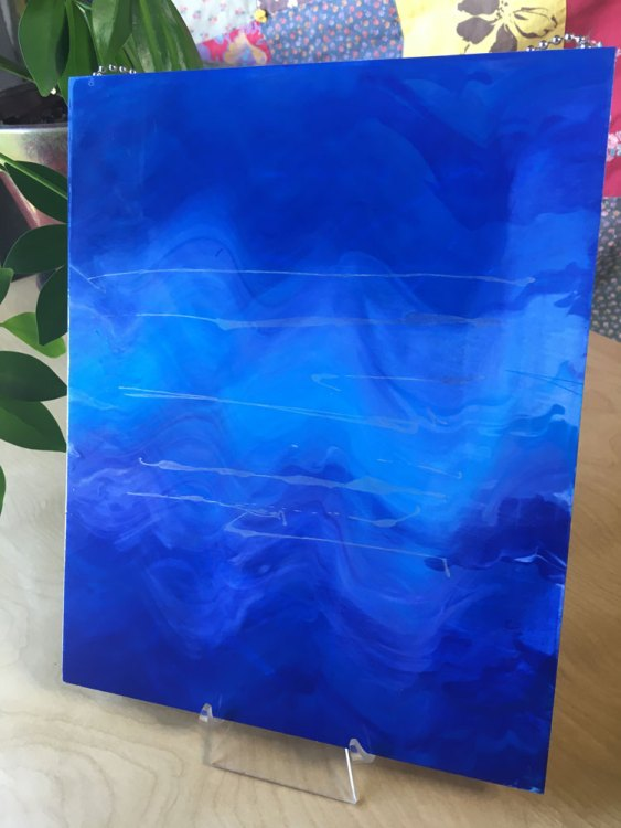 Cobalt Frequency 680 - Serigraph print on up-cycled wood by Gregg Weiss
