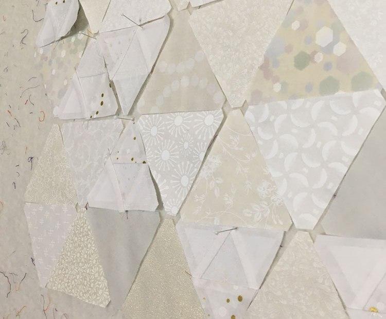 fabric triangles on design board