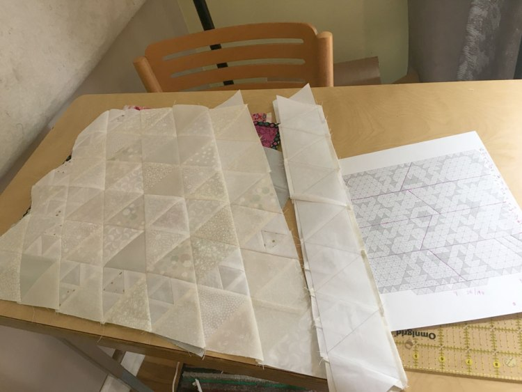 Crown Chakra quilt in progress with layout map