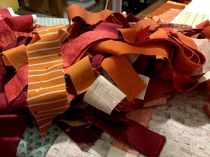 fabric scraps orange