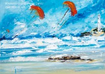 'Kitesurfers @ Gwithian Sands' Cornwall Greeting Card A5 size