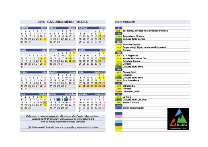 Calendario actividades de Gailurra 2018
