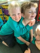 Children showing care and support