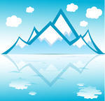 mountain-with-clouds-reflected-on-water-vector-format_92122456