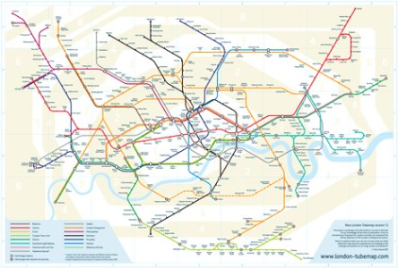 Re Drawing the Tube  Iconic Map Gets Designer Makeover   Gadgets     Noad s map  above  keeps the easily understandable colors delineating each  train line but makes it possible to judge geographical distances between  each