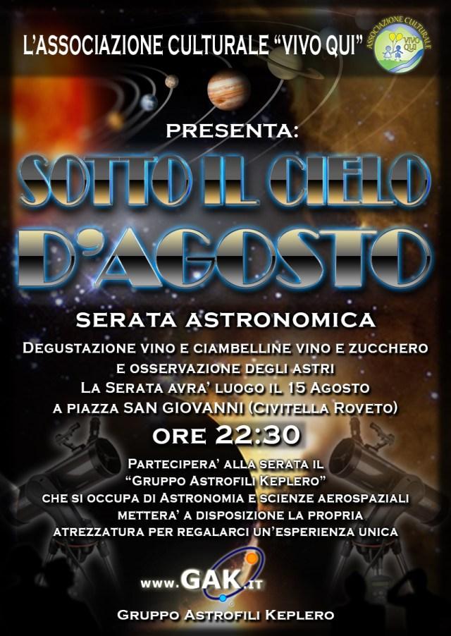"""Locandina della serata astronomica """"Sotto il cielo d'Agosto"""", 15 Agosto a Civitella Roveto (AQ)"""